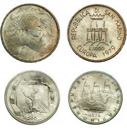 980  -  MONEDAS EXTRANJERAS. SAN MARINO. Lote de 2 piezas de 1000 y 500 liras. 1979, 1976. SC.