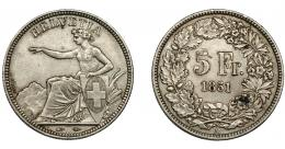 990  -  MONEDAS EXTRANJERAS. SUIZA. 5 francos. 1851-A. KM-11. MBC.