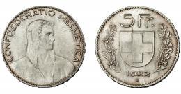 991  -  MONEDAS EXTRANJERAS. SUIZA. 5 francos. 1922 B. KM-37. R.B.O. EBC.