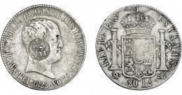 1000  -  COLECCIÓN DE RESELLOS. FILIPINAS. 8 reales. Resello Y. II coronado sobre 20 reales 1822 Madrid SR. KM-no. MBC-/MBC.