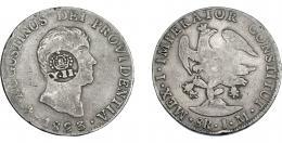 1001  -  COLECCIÓN DE RESELLOS. FILIPINAS. 8 reales. Resello Y. II coronado sobre 8 reales 1823 México JM. KM-127. MBC-.