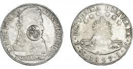 1002  -  COLECCIÓN DE RESELLOS. FILIPINAS. 8 reales. Resello F 7º coronado sobre 8 soles 1827 Potosí JM. KM-51. MBC-/MBC.
