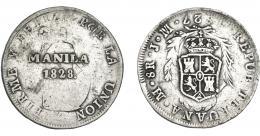 1003  -  COLECCIÓN DE RESELLOS. FERNANDO VII. 8 reales. Resello Manila 1828 sobre 8 reales 1827 Lima JM. VI-1079. KM-24. MBC-.