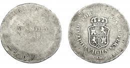 1004  -  COLECCIÓN DE RESELLOS. FERNANDO VII. 8 reales. Resello Manila 1828 sobre 8 reales sin identificar. VI-1029.  BC+.