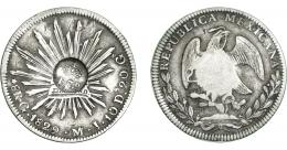 1005  -  COLECCIÓN DE RESELLOS. FILIPINAS. 8 reales. Resello F 7º coronado sobre 8 reales 1829 Guanajuato MJ. KM-74. MBC.