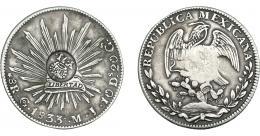 1006  -  COLECCIÓN DE RESELLOS. FILIPINAS. 8 reales. Resello Y. II coronado sobre 8 reales 1833 Guanajuato MJ. KM-129. MBC.