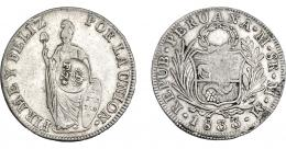 1007  -  COLECCIÓN DE RESELLOS. FILIPINAS. 8 reales. Resello F 7º coronado sobre 8 reales 1833 Lima MM. KM-83. MBC+.