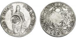 1008  -  COLECCIÓN DE RESELLOS. FILIPINAS. 8 reales. Resello F 7º coronado sobre 8 reales 1833 Lima MM. KM-83. MBC.