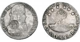 1009  -  COLECCIÓN DE RESELLOS. FILIPINAS. 8 reales. Resello Y. II coronado sobre 8 sueldos 1833 Potosí LM. KM-100. MBC-.