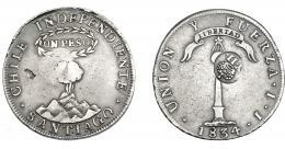 1010  -  COLECCIÓN DE RESELLOS. FILIPINAS. 8 reales. Resello Y. II coronado sobre 1 peso 1834 Santiago IJ. Resello en anv. KM-108. Hojita. MBC-.