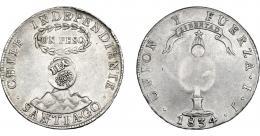 1011  -  COLECCIÓN DE RESELLOS. FILIPINAS. 8 reales. Resello Y. II coronado sobre 1 peso 1834 Santiago IJ. Resello en anv. KM-108. MBC+.