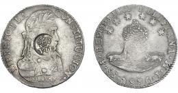 1012  -  COLECCIÓN DE RESELLOS. FILIPINAS. 8 reales. Resello Y. II coronado sobre 8 sueldos 1833 Potosí LM. KM-100. MBc.