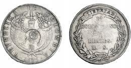 1013  -  COLECCIÓN DE RESELLOS. FILIPINAS. 8 reales. Resello Y. II coronado sobre 8 reales 1835 Bogotá R.S. KM-109. MBC-.