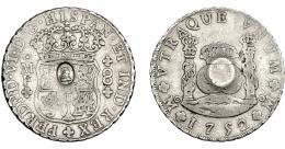 1015  -  COLECCIÓN DE RESELLOS. GRAN BRETAÑA. Dólar. Resello busto de Jorge III dentro de óvalo sobre 8 reales 1752 México MF. KM-630. La moneda MBC, el resello EBC. Rarísima.