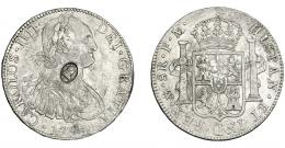 1017  -  COLECCIÓN DE RESELLOS. GRAN BRETAÑA. Dólar. Resello busto de Jorge III dentro de óvalo sobre 8 reales 1791 México FM. KM-634. MBC.