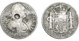 1020  -  COLECCIÓN DE RESELLOS. GRAN BRETAÑA. Dólar. Resello busto de Jorge III dentro de óvalo sobre 8 reales 1793 México FM. KM-634. BC+/MBC-.