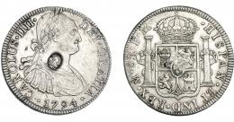 1021  -  COLECCIÓN DE RESELLOS. GRAN BRETAÑA. Dólar. Resello busto de Jorge III dentro de óvalo sobre 8 reales 1794 México FM. KM-634. MBC+.