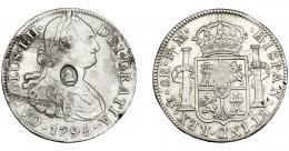 1022  -  COLECCIÓN DE RESELLOS. GRAN BRETAÑA. Dólar. Resello busto de Jorge III dentro de óvalo sobre 8 reales 1795 México FM. KM-634. Oxidaciones. MBC+.