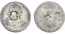 1023  -  COLECCIÓN DE RESELLOS. GRAN BRETAÑA. Dólar. Resello busto de Jorge III dentro de un punzón octogonal sobre 4 reales 1794 Madrd.. KM-no. La moneda RC, el resello MBC-.