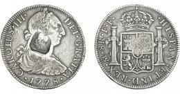 1024  -  COLECCIÓN DE RESELLOS. GRAN BRETAÑA. Dólar. Resello busto de Jorge III dentro de punzón octogonal sobre 8 reales 1778 México FF. KM-655. MBC.