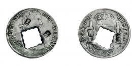 1026  -  COLECCIÓN DE RESELLOS. GUADALUPE. 9 libras. Dos resellos G coronada en anv. y dos en rev. y agujero central cuadrado y dentado, sobre 8 reales 1809 México TH. KM-26. MBC.