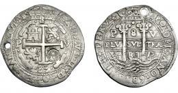 1028  -  COLECCIÓN DE RESELLOS. GUATEMALA. 8 reales. Resello sol sobre montañas dentro de punzón circular sobre 8 reales 1683 Potosí V, tipo real. AR 26,33 g. Agujero. MBC+. KM-96.1. Rara.