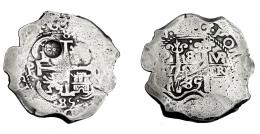 1029  -  COLECCIÓN DE RESELLOS. GUATEMALA. 8 reales. Resello sol sobre montañas dentro de punzón circular sobre 8 reales 1685 Potosí (VR) con 2 fechas. . KM-96.2. MBC-.