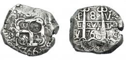 1031  -  COLECCIÓN DE RESELLOS. GUATEMALA. 8 reales. Resello indeterminado sobre 8 reales 1766 Potosí Y. KM-77.5. MBC.