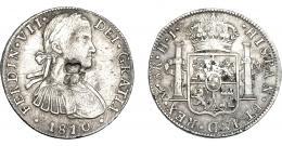 1032  -  COLECCIÓN DE RESELLOS. HONDURAS BRITÁNICA. 6 chelines y 1 penique. Resello GR coronadas sobre 8 reales 1810 México, HJ. KM-4.1. MBC.