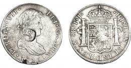 1033  -  COLECCIÓN DE RESELLOS. HONDURAS BRITÁNICA. 6 chelines y 1 penique. Resello GR coronadas sobre 8 reales 1816 México, JJ. KM-2. MBC-/MBC.