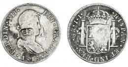 1034  -  COLECCIÓN DE RESELLOS. HONDURAS BRITÁNICA. 6 chelines y 1 penique. Resello GR coronadas sobre 8 reales 1818 México JJ. KM-2. Rayas. BC+/MBC-.