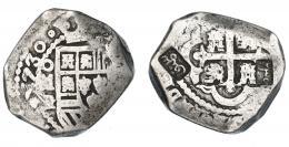 1037  -  COLECCIÓN DE RESELLOS. INDIAS HOLANDESAS SUMENEP (isla de Madura). Ducatón. . Doble resello sobre 8 reales 1730. México. AR 26,7 g. MBC-.