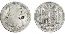 1039  -  COLECCIÓN DE RESELLOS. INDIAS HOLANDESAS SUMENEP (isla de Madura). Ducatón. Resello de flor dentro de diamante sobre 8 reales 1805 México TH. KM-201.2. BC+/MBC-.