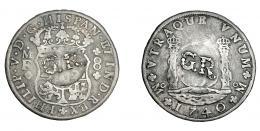 1042  -  COLECCIÓN DE RESELLOS. JAMAICA. 6 chelines y 8 peniques. Resellos GR dentro de círculo en anv. y rev. sobre 8 reales 1740 México MF. KM-8.4. La moneda MBC-. El resello MBC.