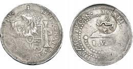 1043  -  COLECCIÓN DE RESELLOS. MÉXICO: 8 reales. Resello Morelos tipo I sobre 8 reales, fecha no visible. KM-190. L.V.O. Zacatecas. KM-265.6. La moneda MBC-, el resello MBC+.