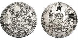 1045  -  COLECCIÓN DE RESELLOS. MOZAMBIQUE.8 reales. Resellos MR enlazadas y M sobre 8 reales 1758 México (MM). KM-no. Gomes-no. MBC.