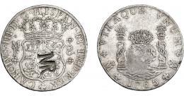 1046  -  COLECCIÓN DE RESELLOS. MOZAMBIQUE. 8 reales. Resello MR enlazadas sobre 8 reales 1765 México MF. KM-29. Gomes-no. MBC-/MBC.