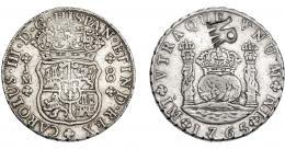 1047  -  COLECCIÓN DE RESELLOS. MOZAMBIQUE. 8 reales. Resello MR enlazadas sobre 8 reales 1765 Lima JM. KM-27.2. Gomes-29.05. MBC.