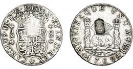 1048  -  COLECCIÓN DE RESELLOS. PORTUGAL. 870 reis. Resello escudo de Portugal sobre 8 reales 1769 Lima JM. KM-no. Gomes-no. MBC.
