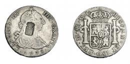 1049  -  COLECCIÓN DE RESELLOS. PORTUGAL. 870 reis. Resello escudo de Portugal sobre 8 reales 1778. Lima MJ. KM no publica. Gomes no publica. La moneda BC+/MBC-. El resello MBC.