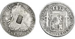 1050  -  COLECCIÓN DE RESELLOS. PORTUGAL. 870 reis. Resello escudo  de Portugal sobre 8 reales 1788. México FM. KM-440.11. Gomes-26.16. La moneda BC+/el resello MBC.