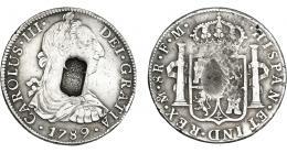1051  -  COLECCIÓN DE RESELLOS. PORTUGAL. 870 reis. Resello escudo  de Portugal sobre 8 reales 1789 México FM. KM-440.11. Gomes-27.01. La moneda MBC, el resello EBC.