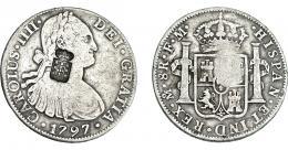 1052  -  COLECCIÓN DE RESELLOS. PORTUGAL. 870 reis. Resello escudo de Portugal sobre 8 reales 1797 México FM. KM-440.13. Gomes-27.22. MBC-/MBC.