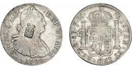 1053  -  COLECCIÓN DE RESELLOS. PORTUGAL. 870 reis. Resello escudo de Portugal sobre 8 reales 1799 México FM. KM-440.13. Gomes-27.27. MBC-/MBC.
