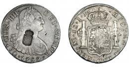 1054  -  COLECCIÓN DE RESELLOS. PORTUGAL. 870 reis. Resello escudo de Portugal sobre 8 reales 1799. Lima IJ. KM no publica. Gomes-27.29. La moneda MBC, el resello EBC.