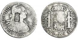 1055  -  COLECCIÓN DE RESELLOS. PORTUGAL. 870 reis. Resello escudo de Portugal sobre 8 reales 1801 México FT. KM-440.13. Gomes-27.32. BC+.