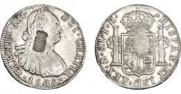 1057  -  COLECCIÓN DE RESELLOS. PORTUGAL. 870 reis. Resello escudo de Portugal sobre 8 reales 1805 México TH. KM-440.13. Gomes-27.39. MBC/MBC+.