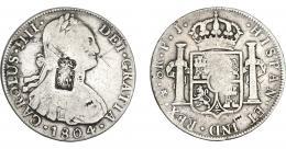 1058  -  COLECCIÓN DE RESELLOS. PORTUGAL. 870 reis. Resello escudo de Portugal sobre 8 reales 1804 Potosí PJ. KM-440.3. Gomes-no. Rayas. BC+.