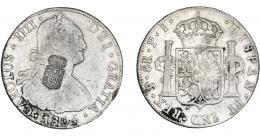 1059  -  COLECCIÓN DE RESELLOS. PORTUGAL. 870 reis. Resello escudo de Portugal sobre 8 reales 1805 Potosí PJ. KM-440.3. Gomes-27.40. La moneda MBC-, el resello MBC+.