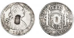 1060  -  COLECCIÓN DE RESELLOS. PORTUGAL. 870 reis. Resello escudo de Portugal sobre 8 reales 1807 México TH. KM-440.13. Gomes-27.44. MBC.